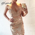 GTIME Evening Party Elegant Sequin Dress Women Sexy V-neck Bodycon Dress 2016 Short Beach Summer Dress Mesh Vestidos # WGT31
