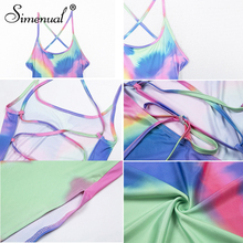 Simenual Backless Lace Up Bodycon Dress Tie Dye Side Slit Women Maxi Dresses Strap Sleeveless Party Sexy Hot Summer Sundress New