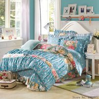 Kore tarzı yatak seti prenses sevimli ilmek leopar çarşaf mavi mor nevresim levha kraliçe kral 4 adet 100% pamuk