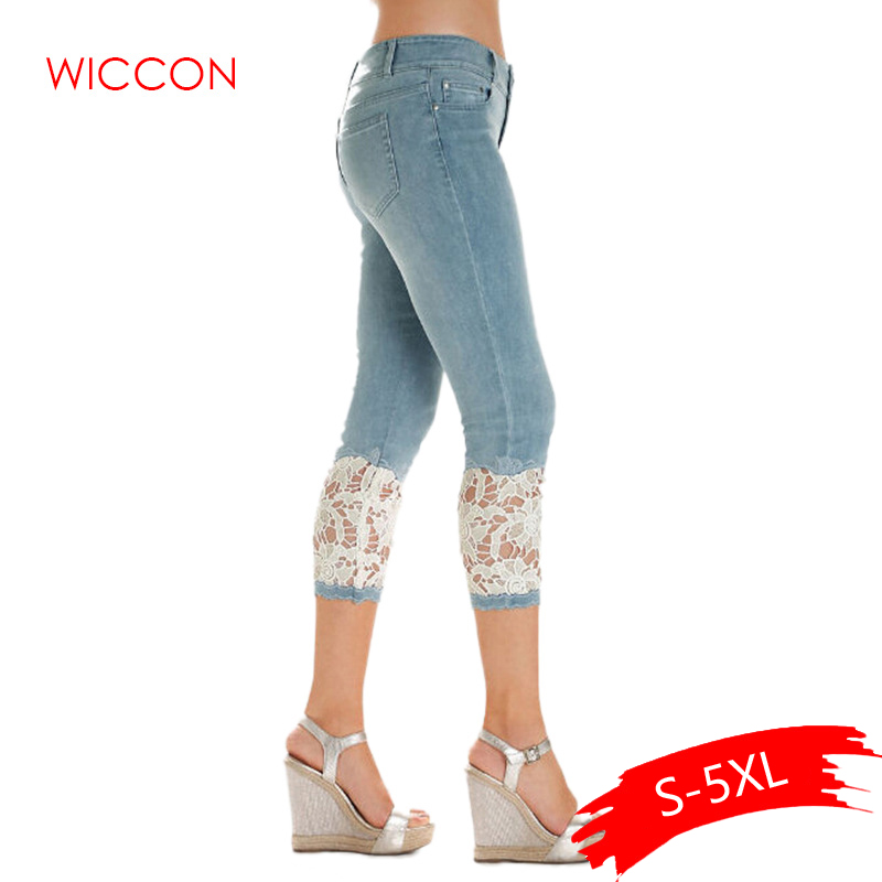 Plus Size Women Summer Lace   Pants   Skinny Stretch Cropped Leggings Trousers   Capris     Pants   3/4 Length Jeans