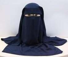 Islamic 3 layers Niqab Burqa Bonnet Hijab Cap veil Muslim Bandana Scarf Headwear Black Face Cover Abaya Style Wrap head covering