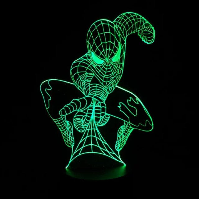Marvel Superhero Spiderman 3D Table Lamp Optical Illusion Bulbing Night  Light 7 Colors Changing Mood Lamp