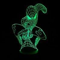 Marvel Superhero Spiderman 3D Mesa ilusión óptica bulbing noche luz 7 colores cambiando la lámpara de humor dropshipping