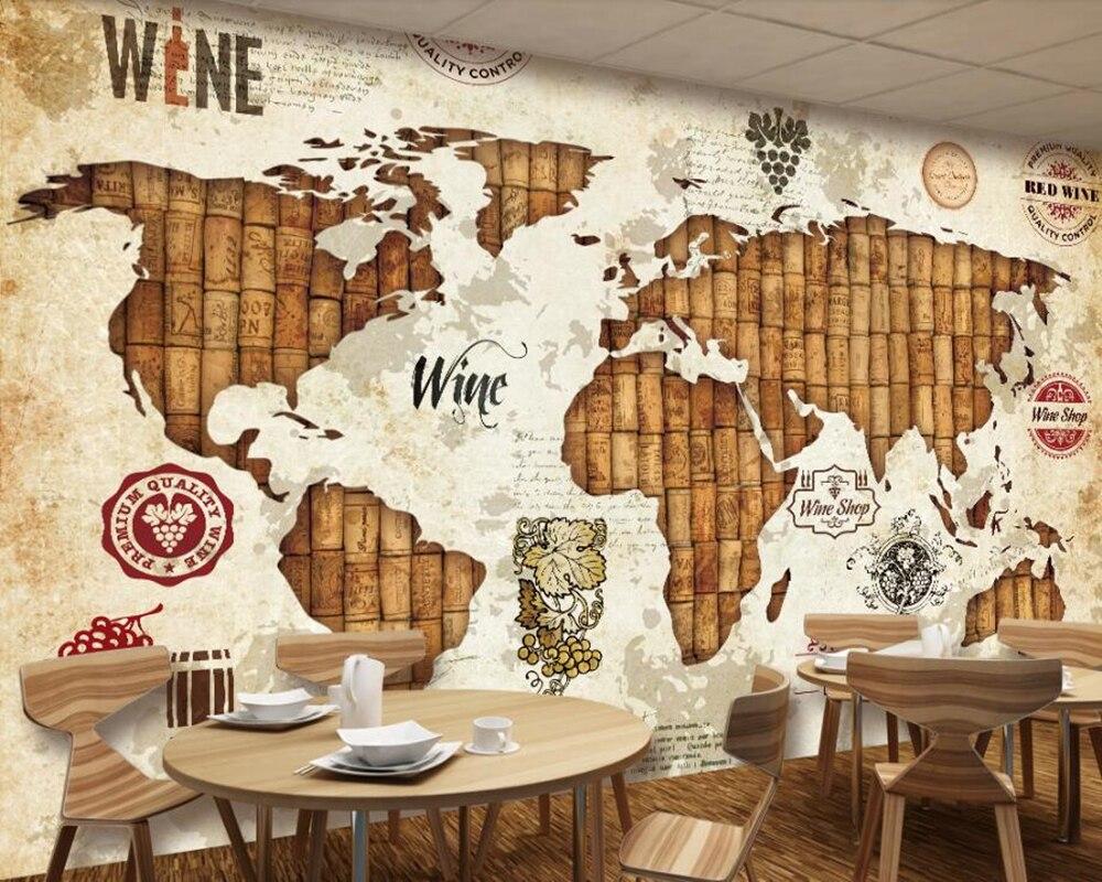Vintage carte du monde vin rouge chêne bouchon 3d papier peint papel de parede, salon canapé TV mur chambre cuisine restaurant bar café