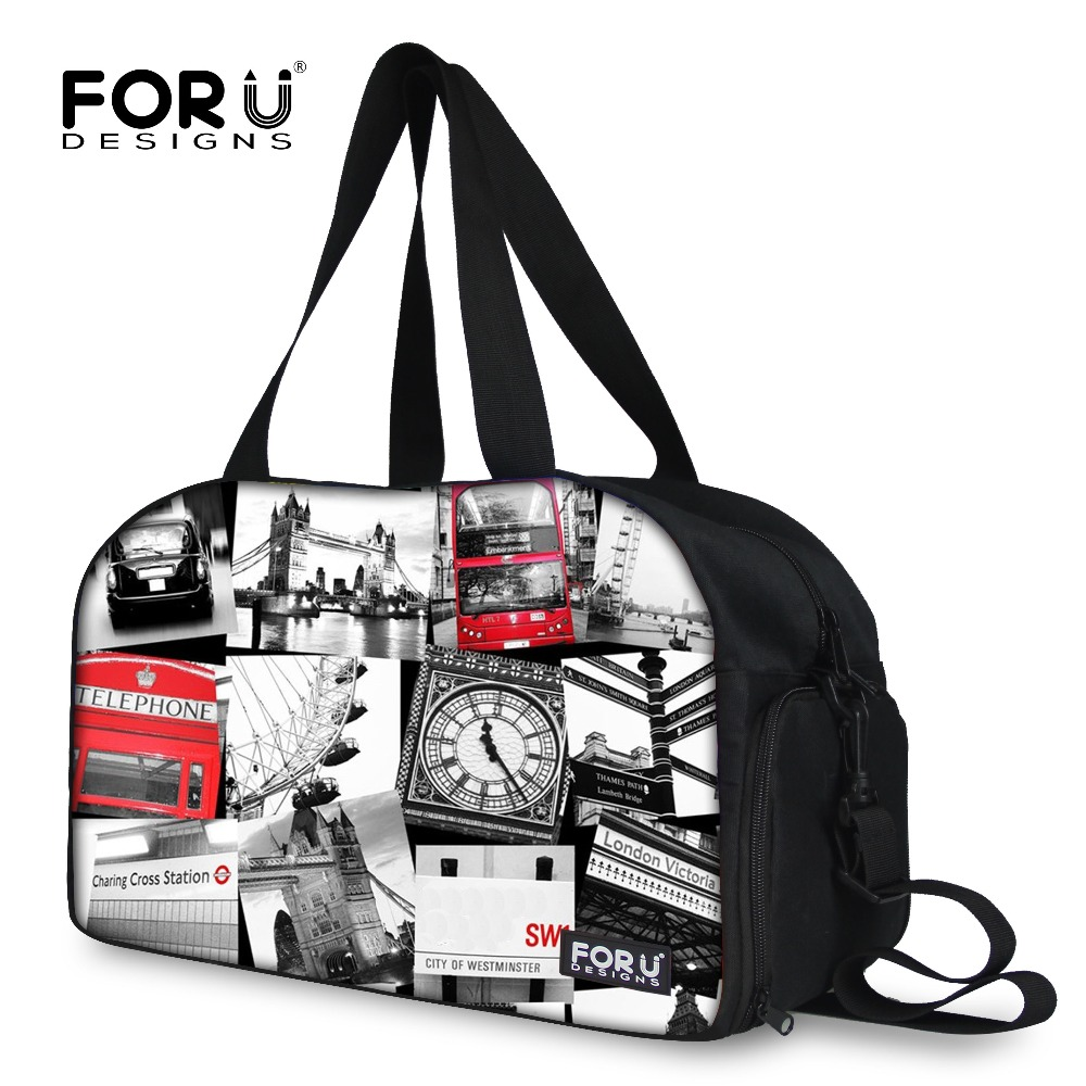 FORUDESIGNS 2017 Women Big Travel Bags,New British Style Duffel Bags for Woman.Ladies Large Fashion Print Weekender Luggage Bag