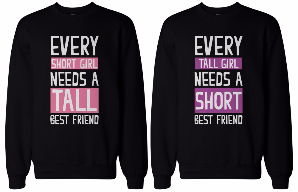 New Print Tall Short Best Friends Sweatshirts Women Cute BFF Long Sleeve Matching Valentine Gift Couple O Neck Hoodies Euro Size