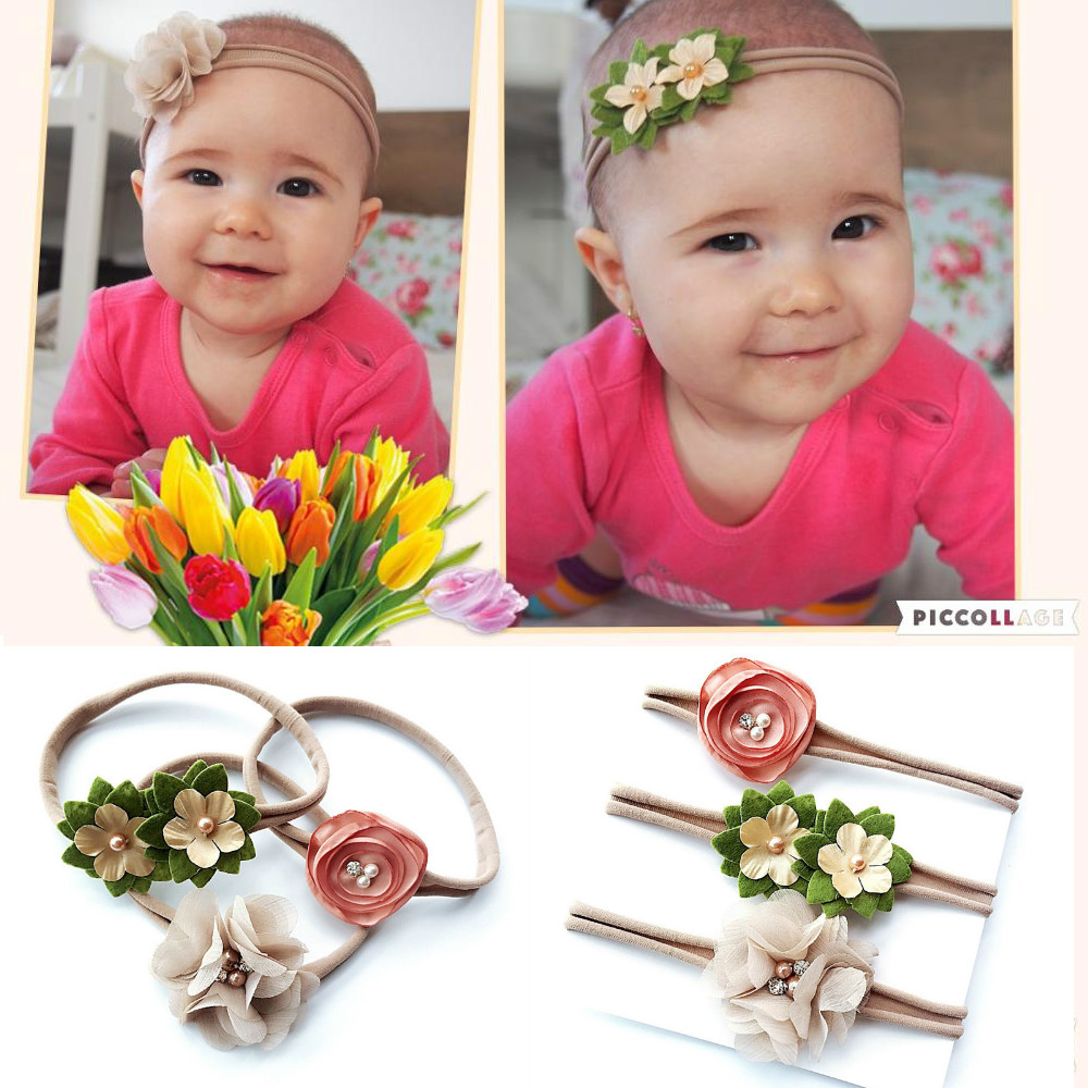 5Pcs//Set Baby Girls Floral Elastic Headbands Holiday Party Hair Band Headwear US