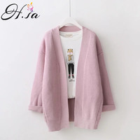 H SA Female Cardigans New Autumn Winter Sweater Cardigan Long Sleeve Oversized Knitted Jacket Coat Loose