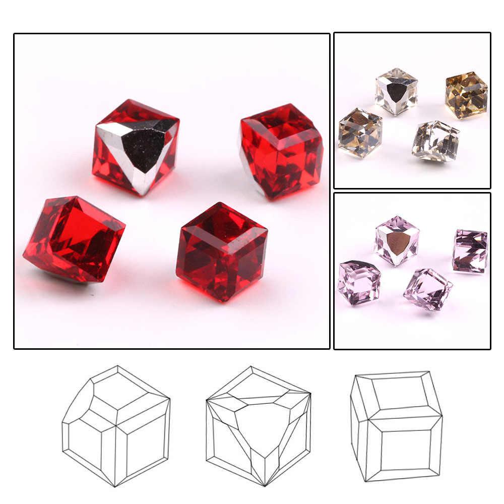 ZHUBI แก้วสแควร์ลูกปัด 6 มม.คริสตัลใสไม่มี Cube ลูกปัด Claw Rhinestones Flatback หินแก้วตกแต่ง DIY