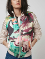 Новый 2016 Осень Зима Куртки Mujer Куртка Мода Женщины Куртка Бомбардировщика Дамы Цифровая Печать Пальто