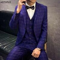 Blu Abito da Uomo Grigio Nero Vestito Designer 2016 Abiti Da Sposa Per Uomo Più 3XL Matrimonio Partito di Promenade Abiti Plaid (Jacket + Vest + Pant)