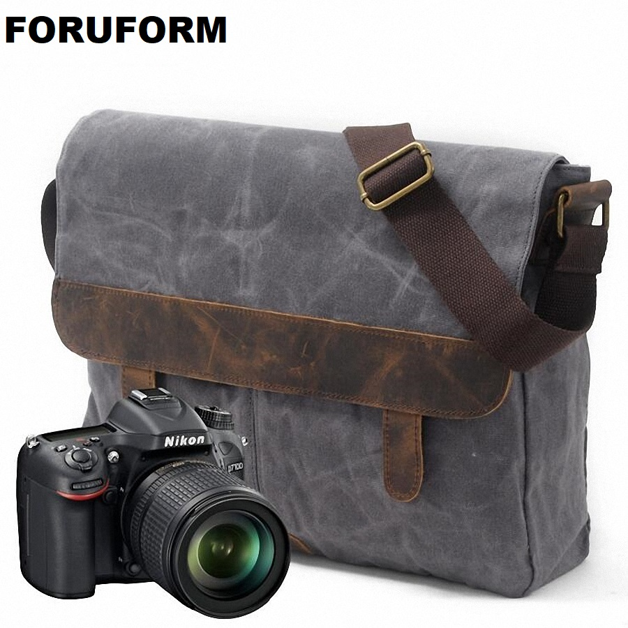 DSLR Camera Bag Waterproof Canvas Shoulder Bag Camera Case For Canon Nikon Sony FujiFilm Olympus Panasonic DSLR Cameras LI-1860