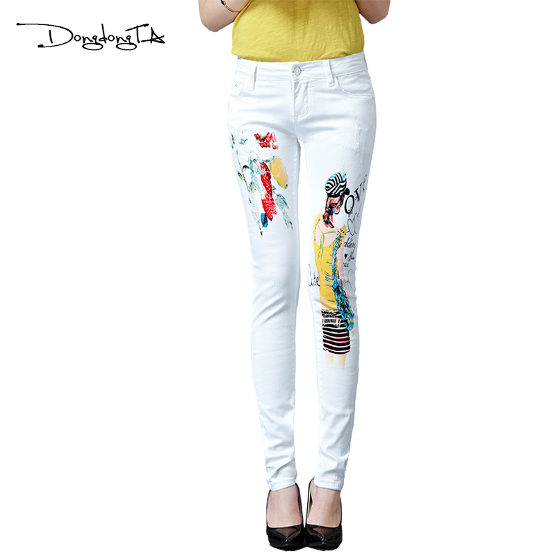 Dongdongta New Women Girls Jeans 2017 Original Design Vit Färg Mode - Damkläder