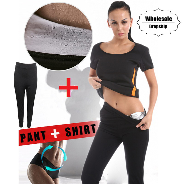 0aa419384f NINGMI Hot Shaper Shirt + Pant Slimming Set Women Waist Trainer Body Shaper  Neoprene Vest Blouse