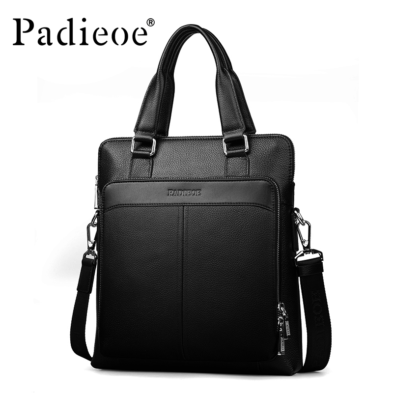 Padieoe Black Genuine Leather Business Briefcase High Quality Men Messenger Bag Leather Men's Shoulder Handbags Famous Brand