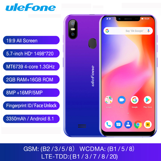 "Ulefone S10 Pro 2GB 16GB Mobile Phone Android 8.1 5.7"" 19:9 16MP 3350mAh OTG Face Unlock Fingerprint ID 4G Dual SIM Smartphone"