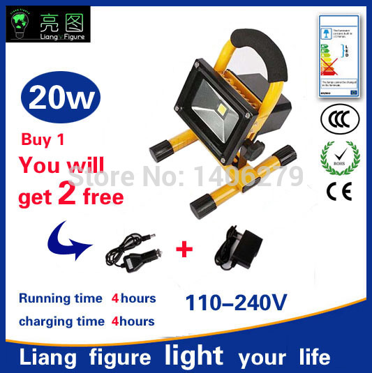 20w 4hours LED Portable Rechargeable Spotlights AC110-240V LED Outdoor Emergency Integrated floodlight
