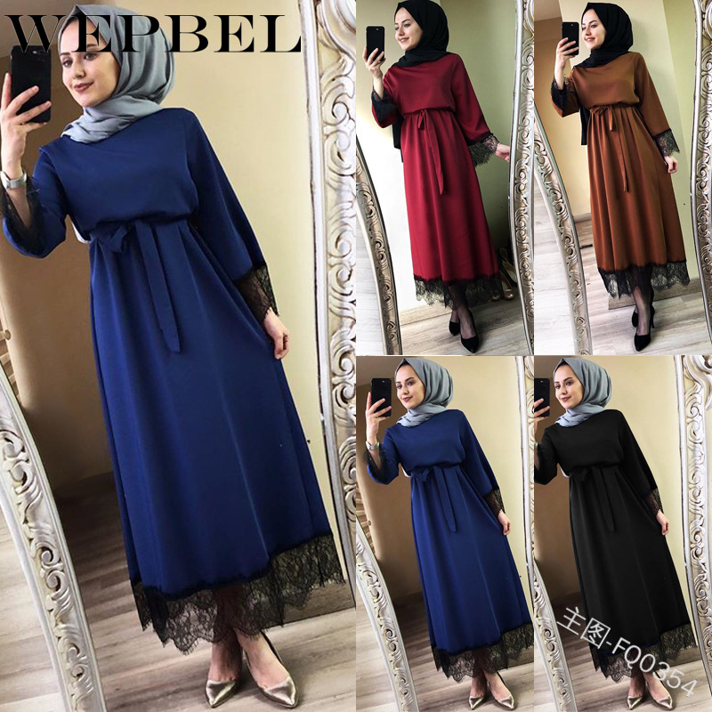 WEPBEL Plus Size Women 2019 Abaya Dubai Ramadan Caftan Moroccan Hijab Muslim Dress Kaftan Turkish Islamic Fashion Clothing