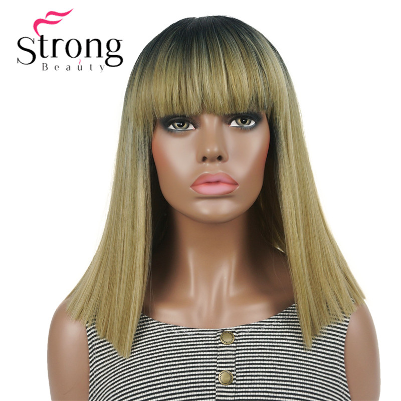 StrongBeauty Medium Yaki Straight Neat and Natural Ombre Glonden Blonde Full Synthetic Wig for Women