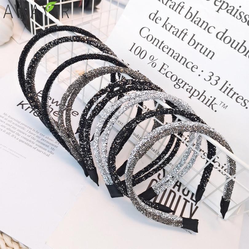 2 in 1 New High Quality Fashion Crystal Shine Women Headband Colorful Elegant Hairband Girl   Headwear   Hair Band Hair Accessories