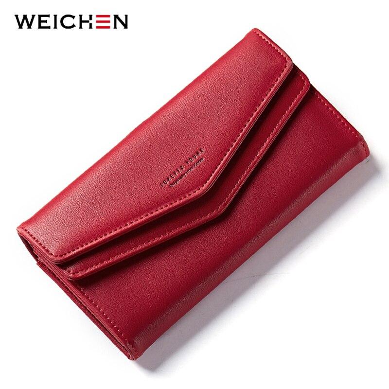 WEICHEN New Geometric Envelope Clutch Wallet For Women Female Leather Purse Card Holders Coin Phone Pocket Long Wallets Bolsas