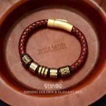 REAMOR 8mm Red Braided Full Grain Leather Mens Bracelet Stainless steel Shining Golden Beads Charm Bracelets Bangle Jewelry