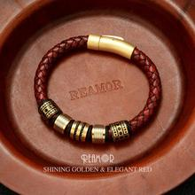 REAMOR 8mm Rode Gevlochten Volnerfleer mannen Armband rvs Shining Gouden Kralen Charm Armbanden Bangle sieraden