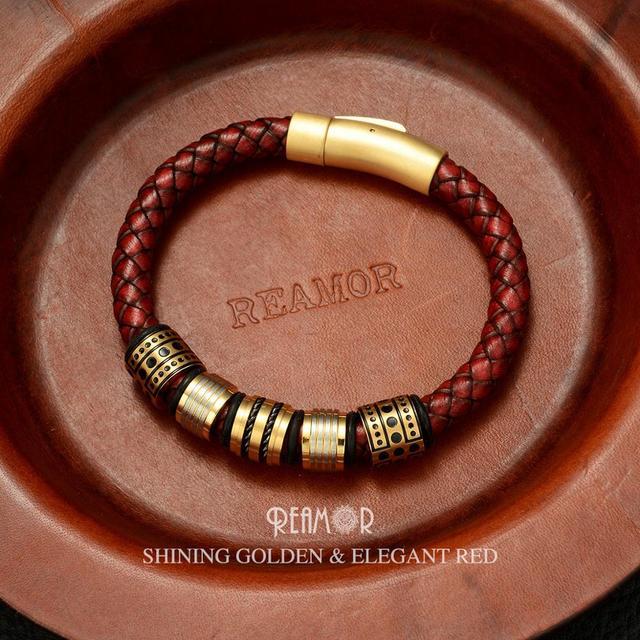 REAMOR 8mm אדום קלוע מלא תבואה עור גברים של צמיד נירוסטה הניצוץ זהב חרוזים סגולה צמידי צמיד תכשיטים