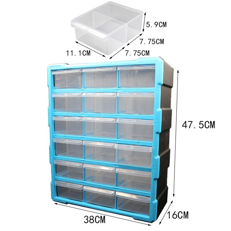 Large Electronic Parts Storage Box Classification Of Ark Multi-grid Drawer Type Component Box Tool Box 18 Drawers Blue