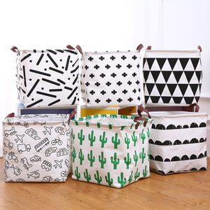Image 5 - 2019 New Organizer Creative Lattice Storage Box Folding Storage Basket Cotton Linen Art Plus Size Toy Laundry Basket Organizador