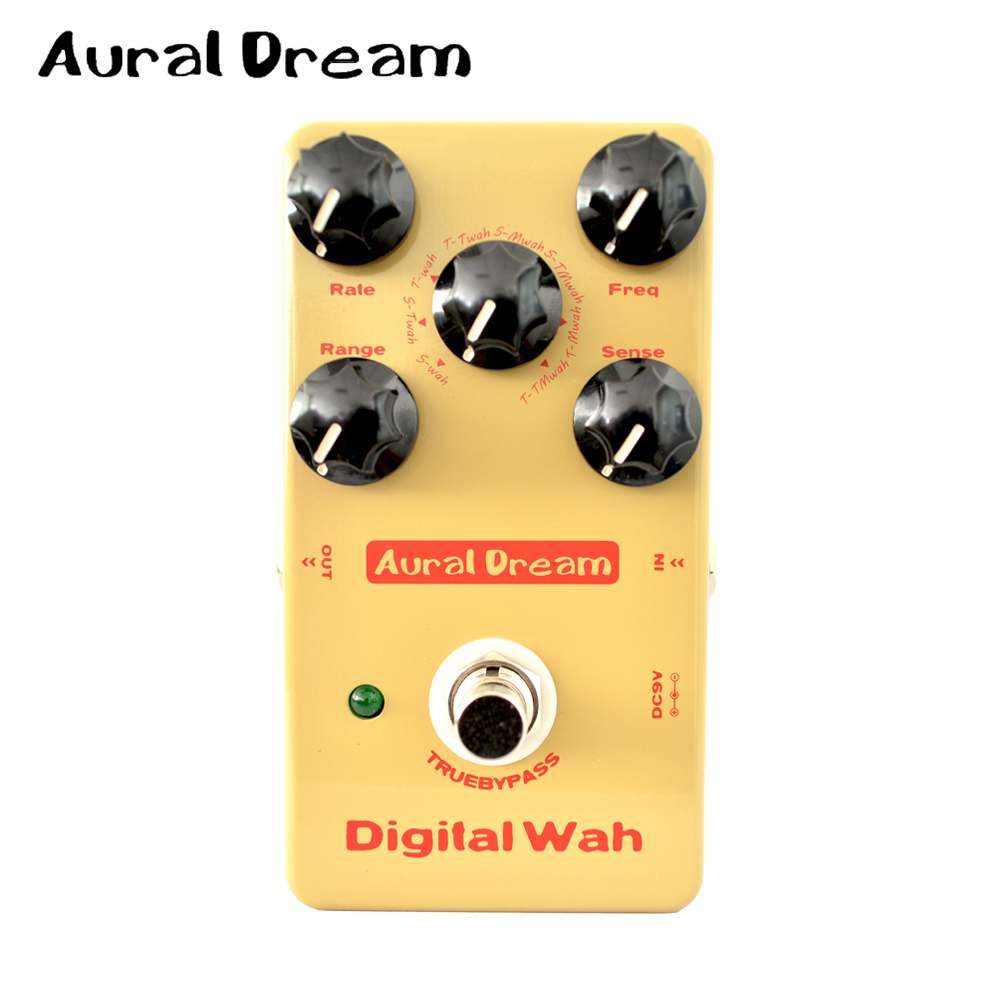 Aural Dream Digital Wah Guitar Effect Pedal with True Bypass Design and 8 Algorithms aroma adr 3 dumbler amp simulator guitar effect pedal mini single pedals with true bypass aluminium alloy guitar accessories