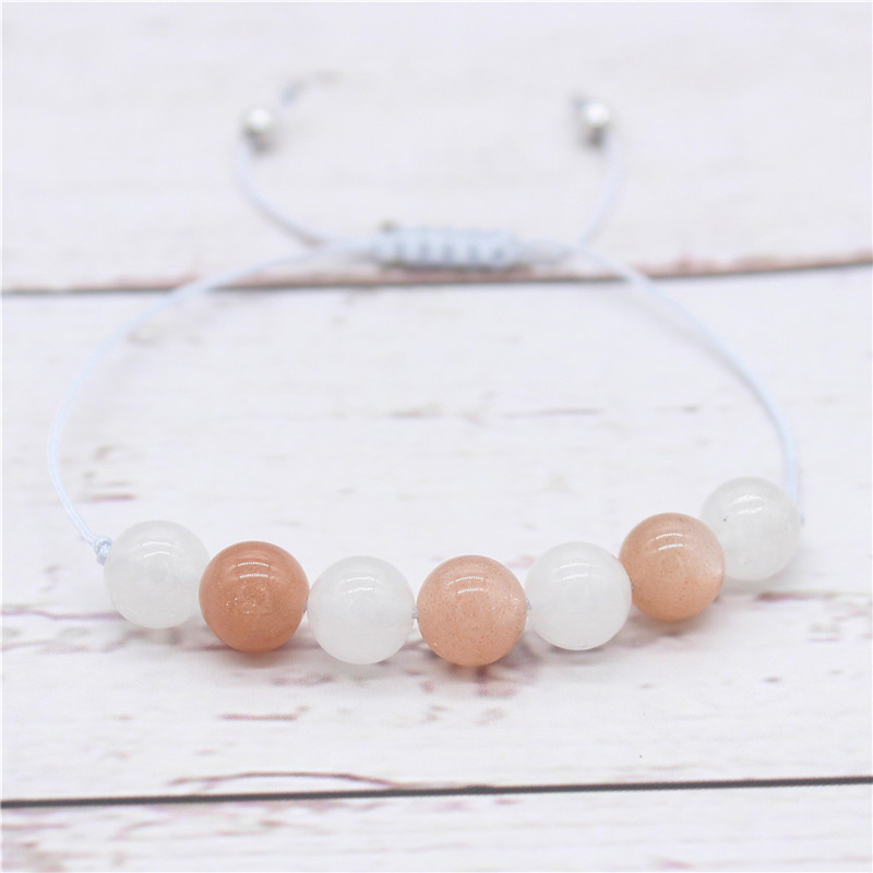 Red & White Moonstone Beads Bracelets for Women Party Gifts Grey Braid Rope Chain Adjustable Charm Jewelry MBR180230