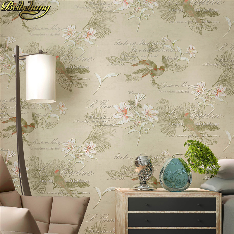 beibehang American flowers birds Luxury wallpaper for living room Embossed beige white 3D wallpaper for wall paper TV background