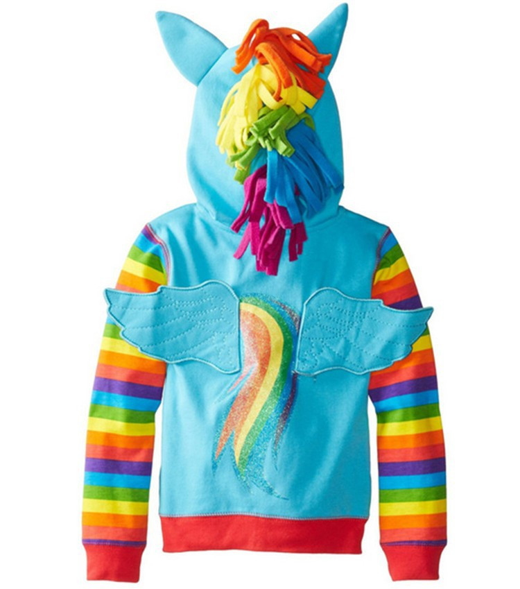 Little pony Girls Sweatshirt Spring Casual Hooded Coat For Girl 3 Color Children Clothes Cartoon Baby Kids Toddler jacket