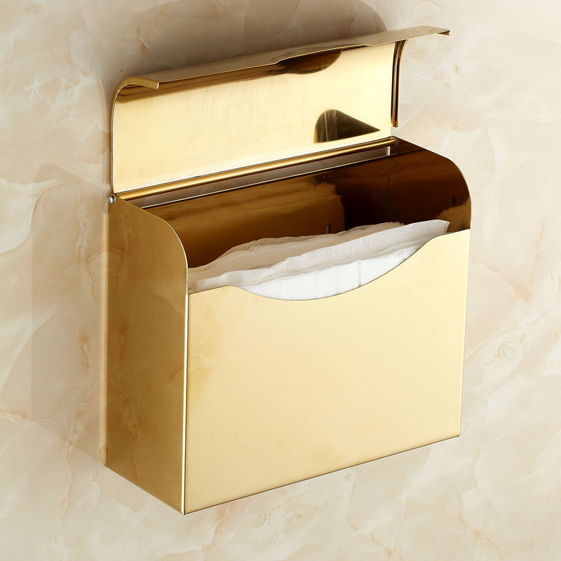 Free Shipping European Style Gold Plated WC Paper Holder Toilet Paper Holder Toilet Tissue Box Bathroom Accessories black of toilet paper all copper toilet tissue box antique toilet paper basket american top hand cartons page 7