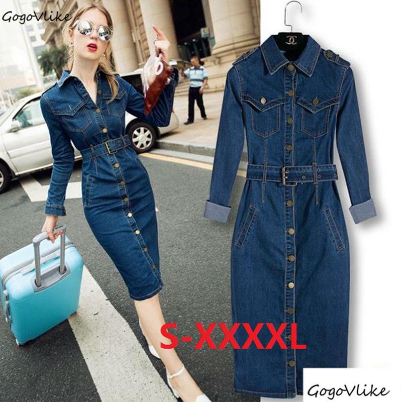 5XL 4XL Maxi Jeans robe crayon 2018 femmes Denim Long Vestidos une pièce robe de Cowboy avec ceinture femmes bleu coton vêtements S10