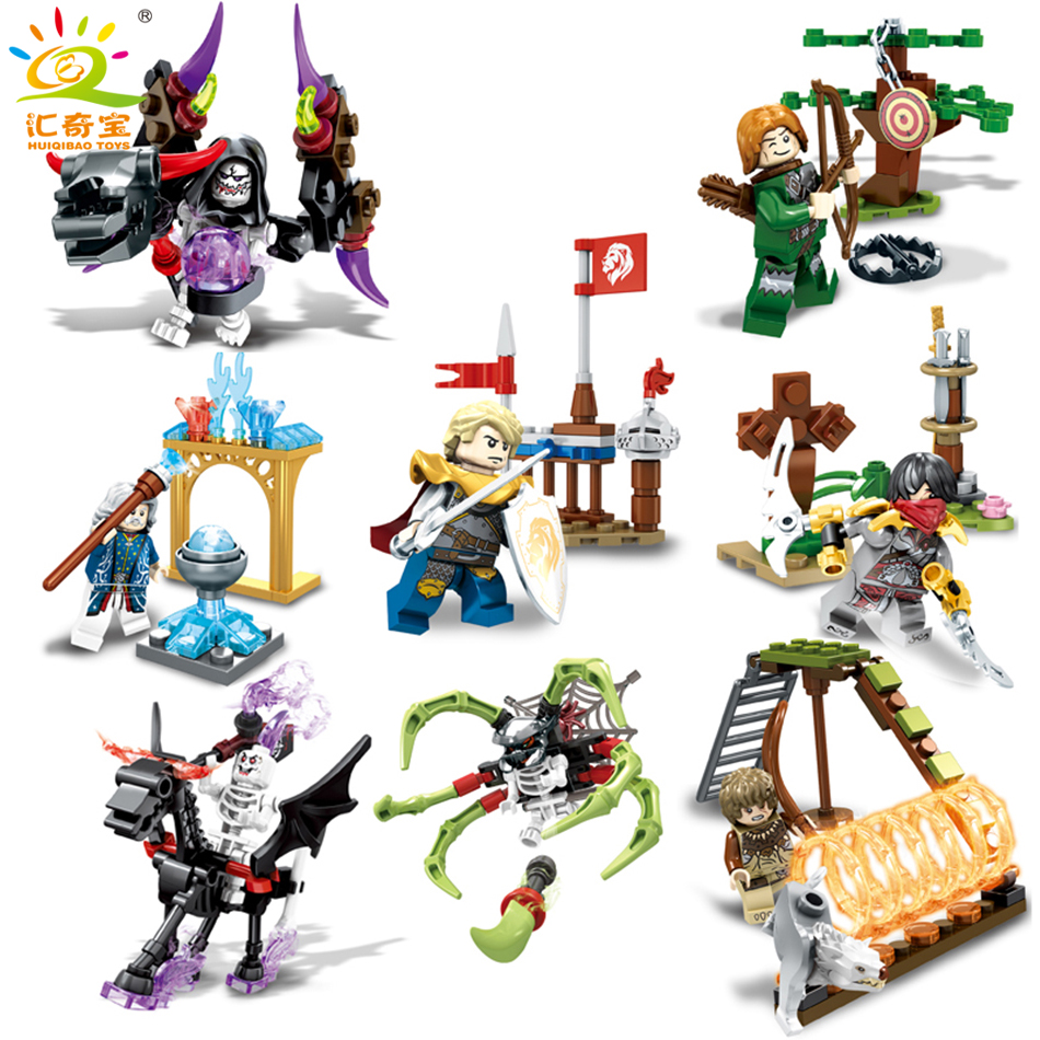 Knight Devil Soldiers Figures Weapons Ghost Tribes Building Blocks Sets Compatible Legoed Skeleton Educational Toys For Children ancient knight 28pcs set soldiers and horses medieval model toy soldiers figures