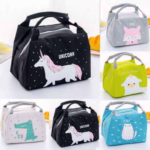 Unicorn Women Girls Kids Portable Insulated Lunch Bag Box Picnic Tote Cooler