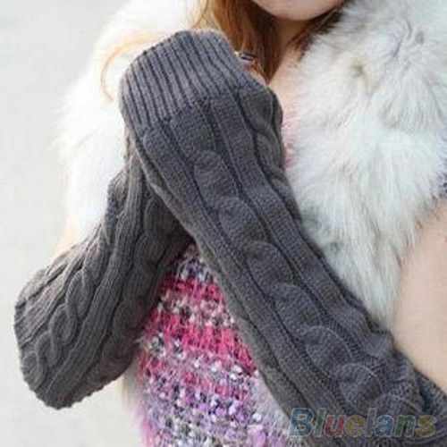 Women's Men's Long Knitted Crochet Fingerless Braided Arm Warmer Gloves