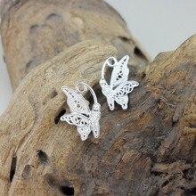 Butterfly 999 Sterling Silver Stud Earrings For Women Small Korean Handmade Miao Luxury Jewelry Ear Studs Ethnic