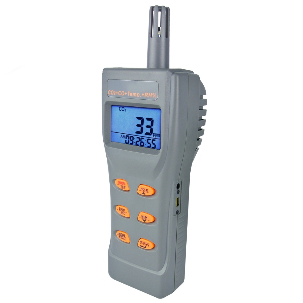 6 в 1 комбо Многофункциональный CO2 & CO, и Температура, влажность RH %, DP, WB, USB регистратор данных с программным обеспечением, метр IAQ тестер