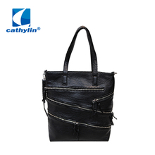 Hot 2016 Cathylin Whole New PU Handbags With Zippers Decoration Classic Black Women Leather Messenger Bags