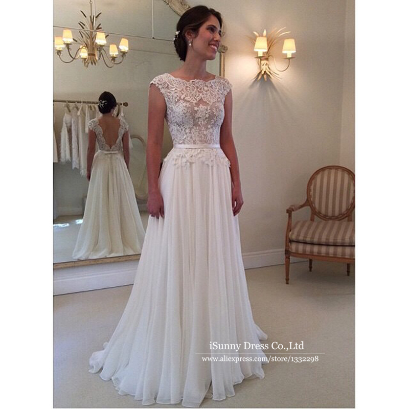 vintage beach wedding dress 2017 sheer scoop cap sleeve applique backless wanda borges wedding dresses vestidos