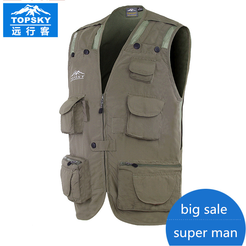 Topsky Men outdoor multi-function large capacity Photography vest fly Fishing vest reporter vest life vest for fishing professional multi pocket fly fishing vest sleeveless waterproof life rescue jacket outdoor photography clothing sea wear shirts