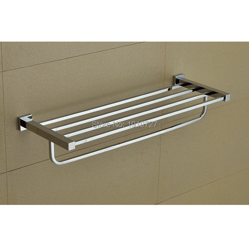Bathroom Mirror Polished Stainless Steel Towel Rack Wall Mounted Square Double Towel Holder