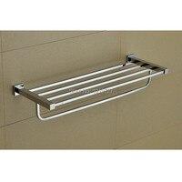 Bathroom Mirror Polished Stainless Steel Towel Rack Wall Mounted Square Double Towel Holder Towel Shelf Bathroom