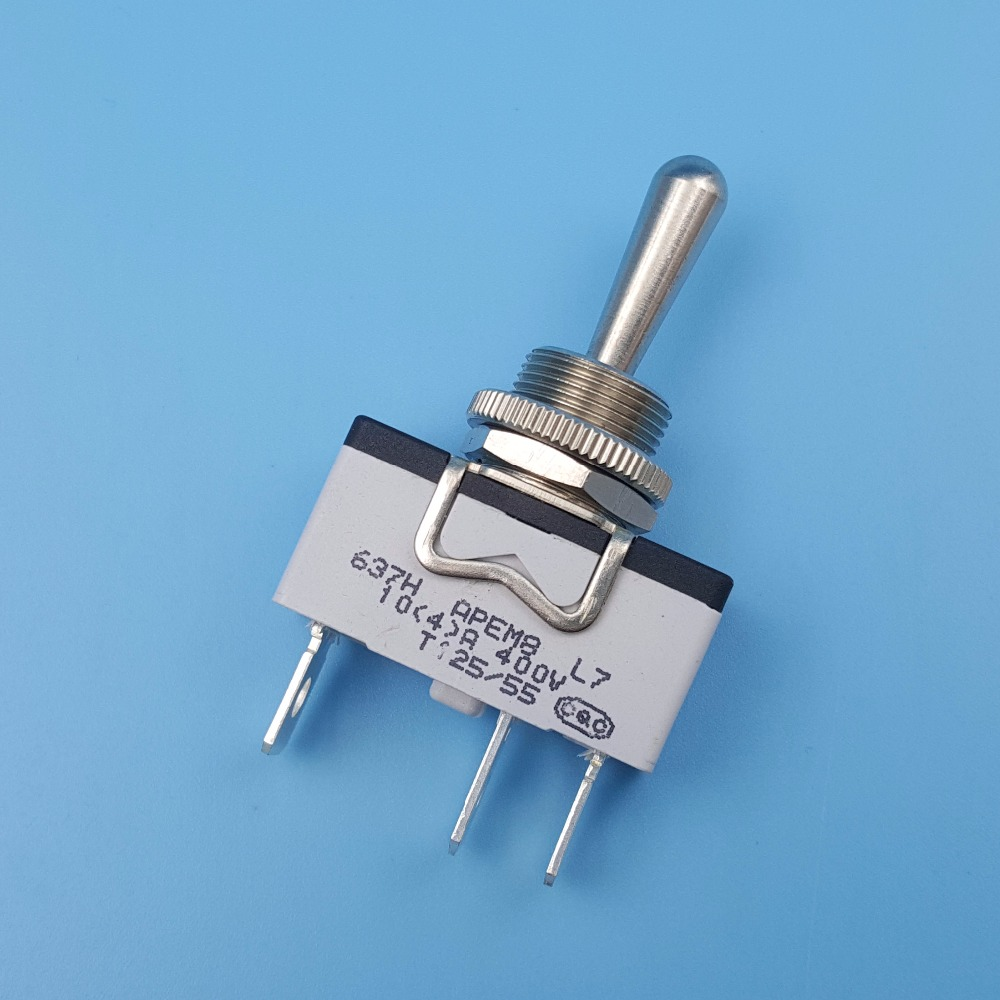 APEM 637H/2 Metal Lever (ON)-OFF-(ON) Momentary 3Pin 12mm Single Pole Toggle Switch