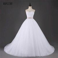 BEPEITHY Ayrılabilir Sash Ile Prenses Balo Pretty Tül Gelinlik Vestidos De Novia Casamento Gelin Düğün Elbise 2017