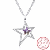 LEKANI Crystals From SWAROVSKI Double Stars Necklaces Pendants Real 925 Silver Chain Max Collares For Women Gifts Fine Jewelry