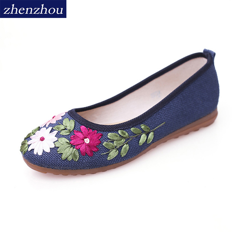 zhen zhou 2017  Women Flower Flats Slip On Cotton Fabric Casual Shoes Comfortable Round Toe Flat Shoes Woman Plus Size
